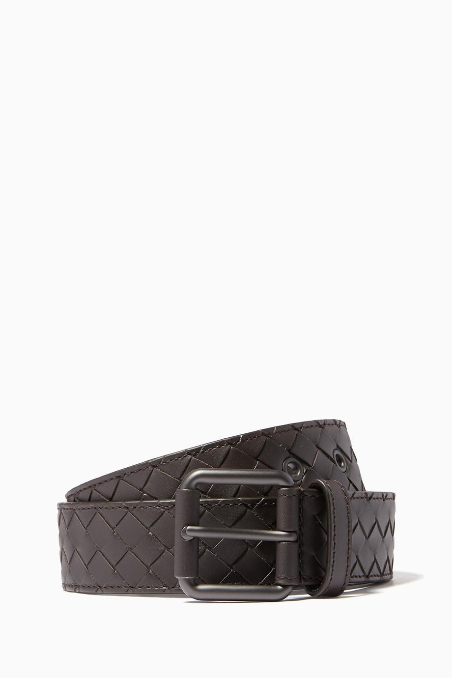 989c65fcf5fe Shop Bottega Veneta Brown Espresso Intrecciato Leather Belt for Men ...