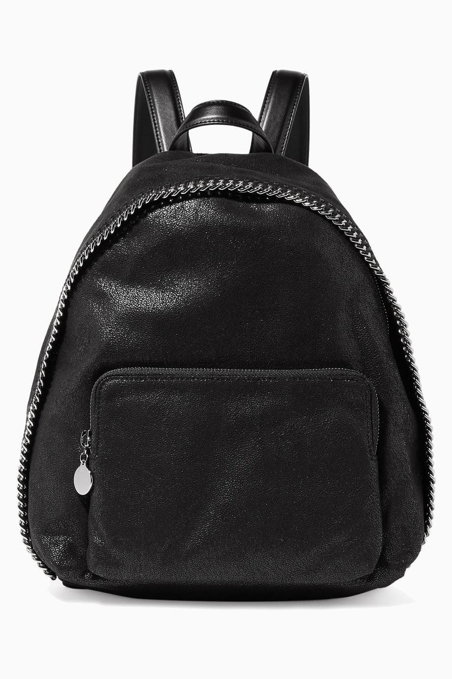Shop Stella McCartney Black Black Falabella Shaggy Deer Backpack for ... c91ad9622bb6a
