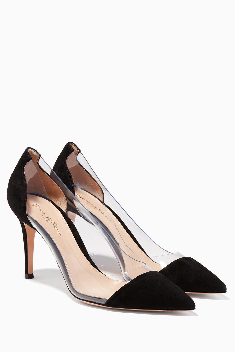47cb983cccccd تسوق حذاء جلد غزال أسود شفاف من الجانبين Gianvito Rossi أسود للنساء ...