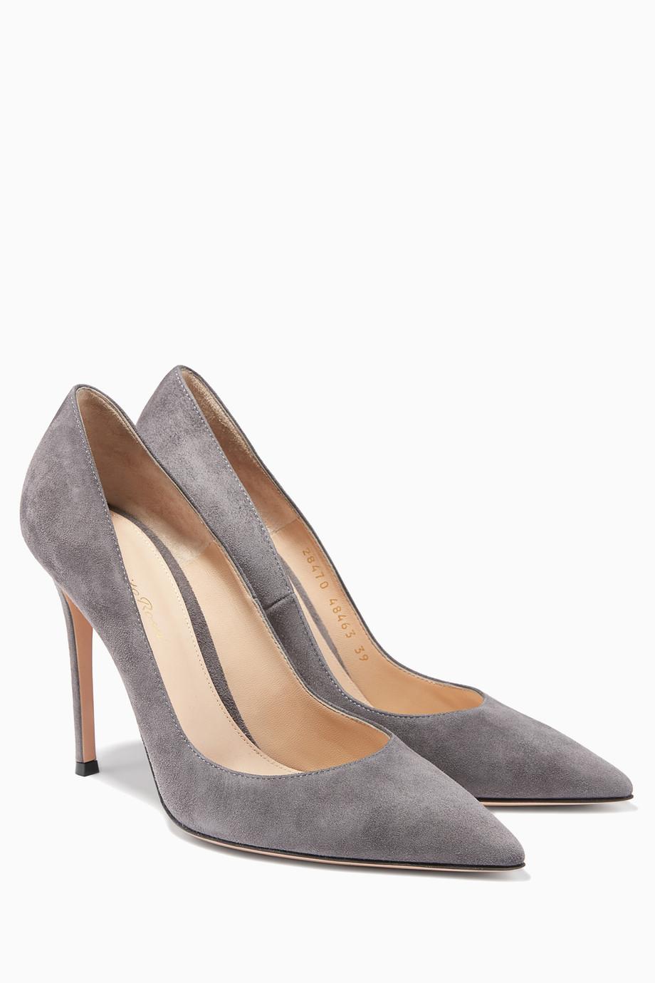 9803ef4656ba9 تسوق حذاء من جلد الغزال الأسود جيانفيتو روسي رمادي للنساء