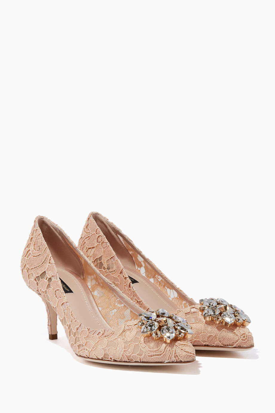 8ef0540a07d Shop Dolce   Gabbana Pink Blush Bellucci Embellished Lace Pumps for ...