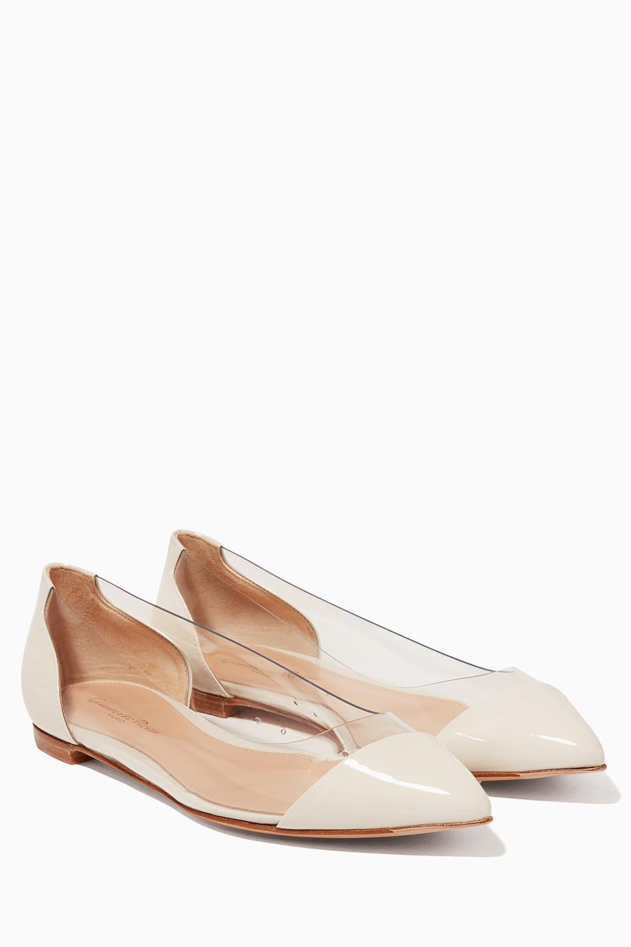 04535a7418e Shop Gianvito Rossi Neutral Monochrome Plexi Patent Leather Ballerinas for  Women