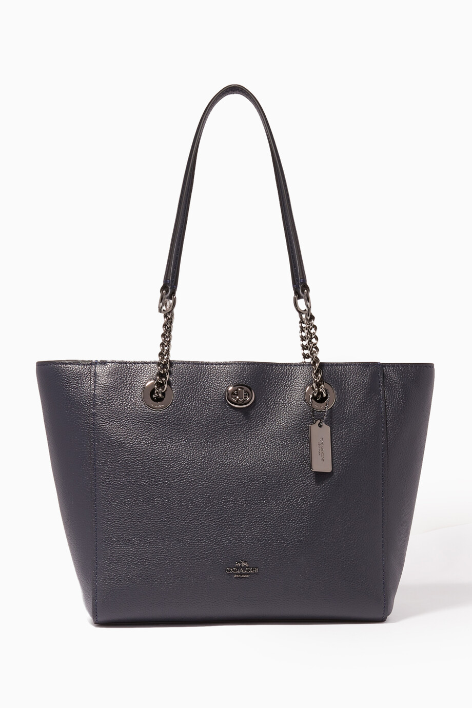 Shop Coach Blue Navy Turnlock Chain 27 Tote Bag for Women  367006a6911c6