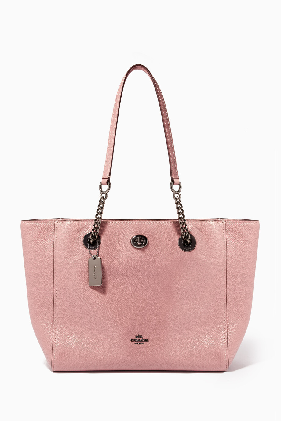 00be7464d Shop Coach Pink Pink Turnlock Chain 27 Tote Bag for Women | Ounass