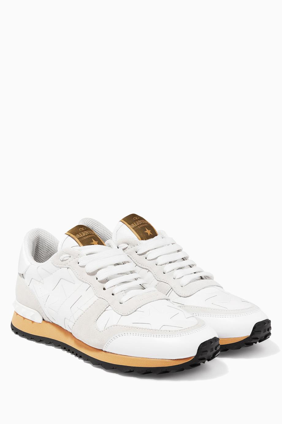 250e52b9ebcbf Shop Valentino White Bianco Camo RockRunner Sneakers for Women