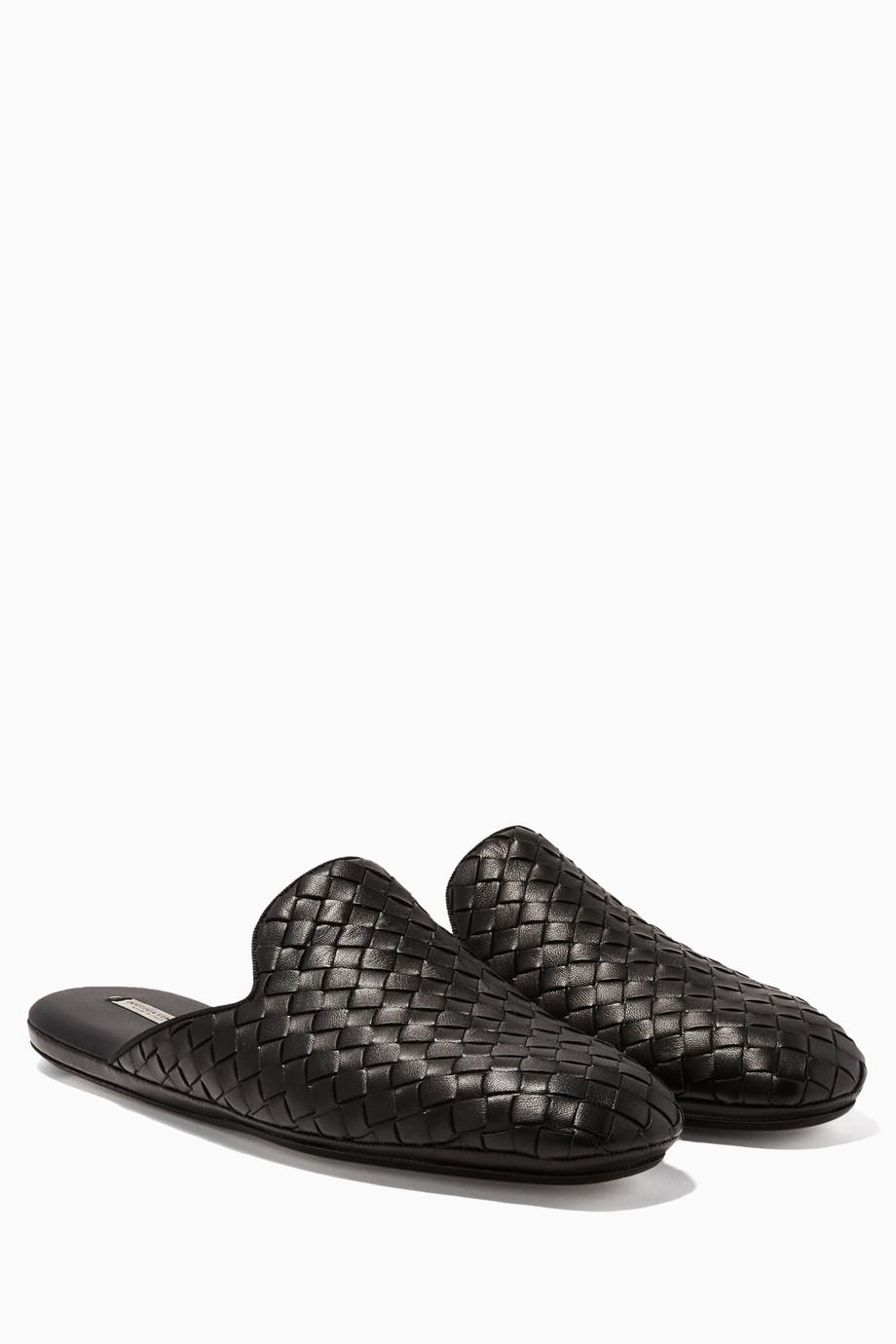 a9b1286e35cb6 Shop Bottega Veneta Black Black Intrecciato Backless Loafers for ...