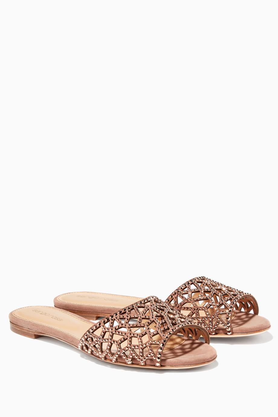 3d3d1a7d1f9d Shop Neutral Light Beige Tresor Swarovski Crystal Flat Sandals for ...
