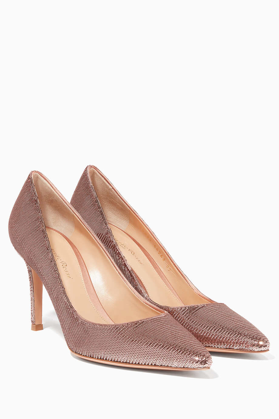 2706cd622 Shop Gianvito Rossi Neutral Pink Gianvito Sequin Pumps for Women ...