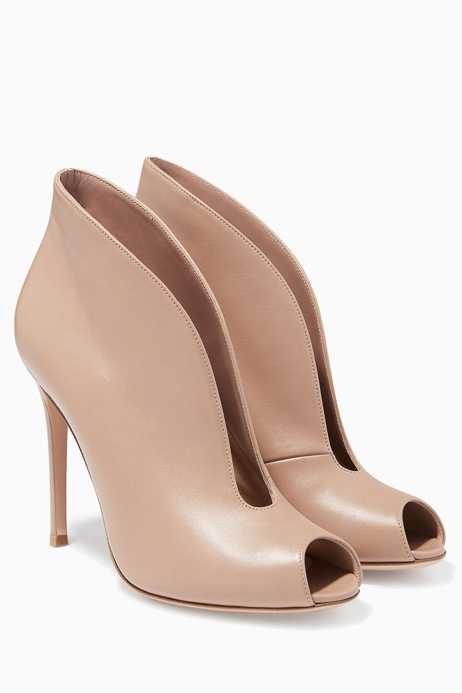 4ddef28f7deb Shop Gianvito Rossi Brown Tan Peep-toe Boot for Women