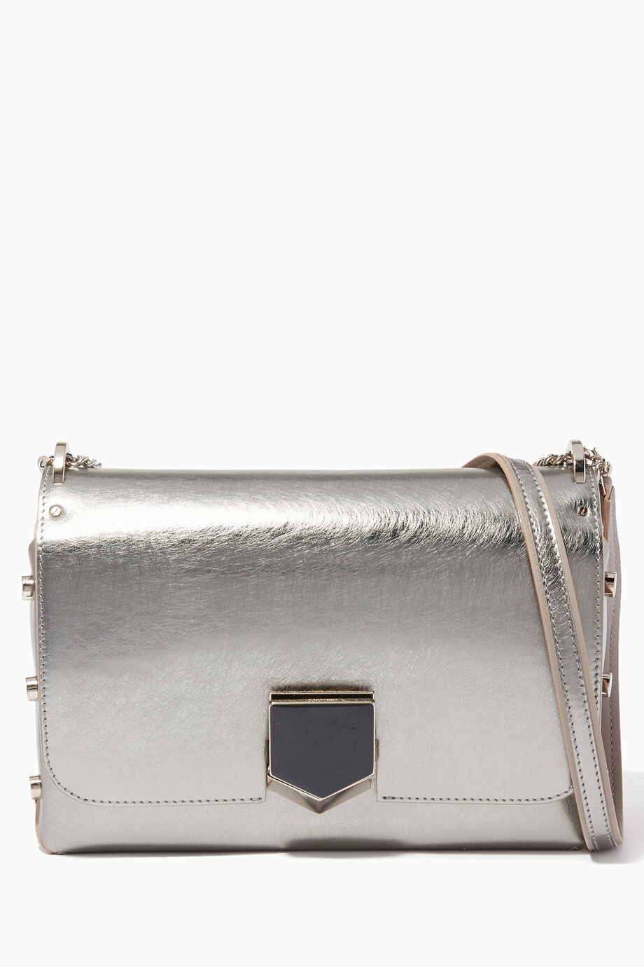 modern techniques exquisite style meet Shop Jimmy Choo Silver Vintage Silver Lockett City Leather ...