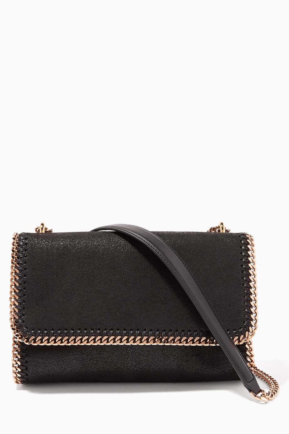 23400adf5a632 Shop Stella McCartney Black Black Falabella Shaggy Deer Shoulder Bag ...