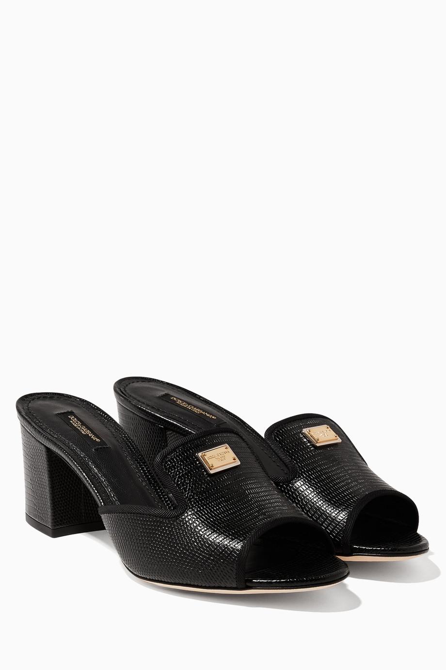 ecd254fe1a9 Shop Dolce   Gabbana Black Black Bianca Iguana Sandals for Women ...