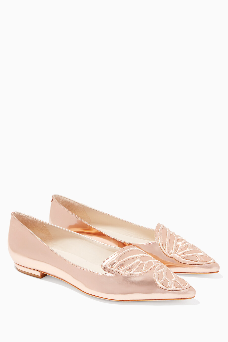 946aeab864f Shop Sophia Webster Gold Bibi Butterfly Rose-Gold Flats for Women ...