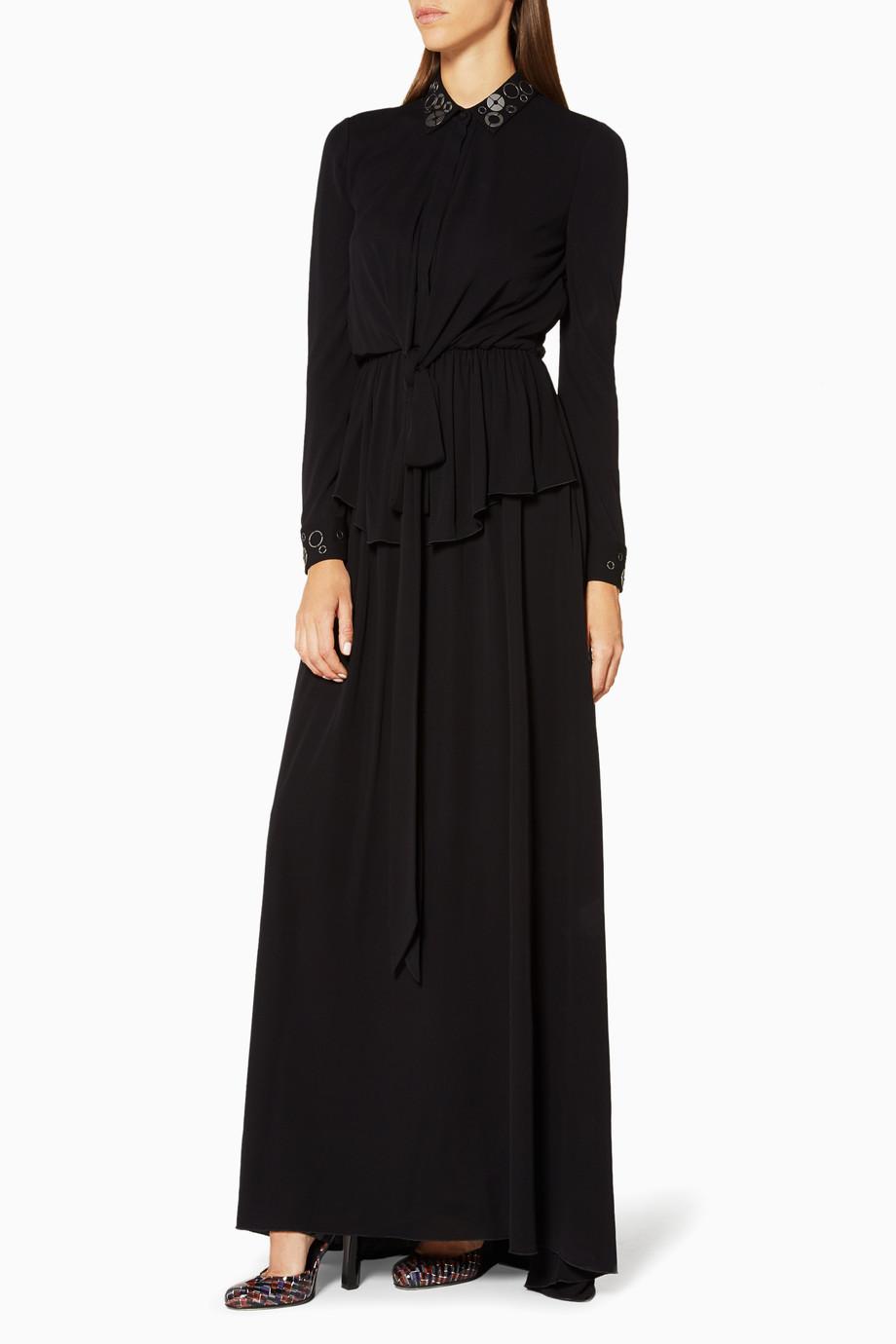 ba7ff8c60 تسوق فستان نافي كريب المطرز Bottega Veneta أزرق للنساء | اُناس السعودية