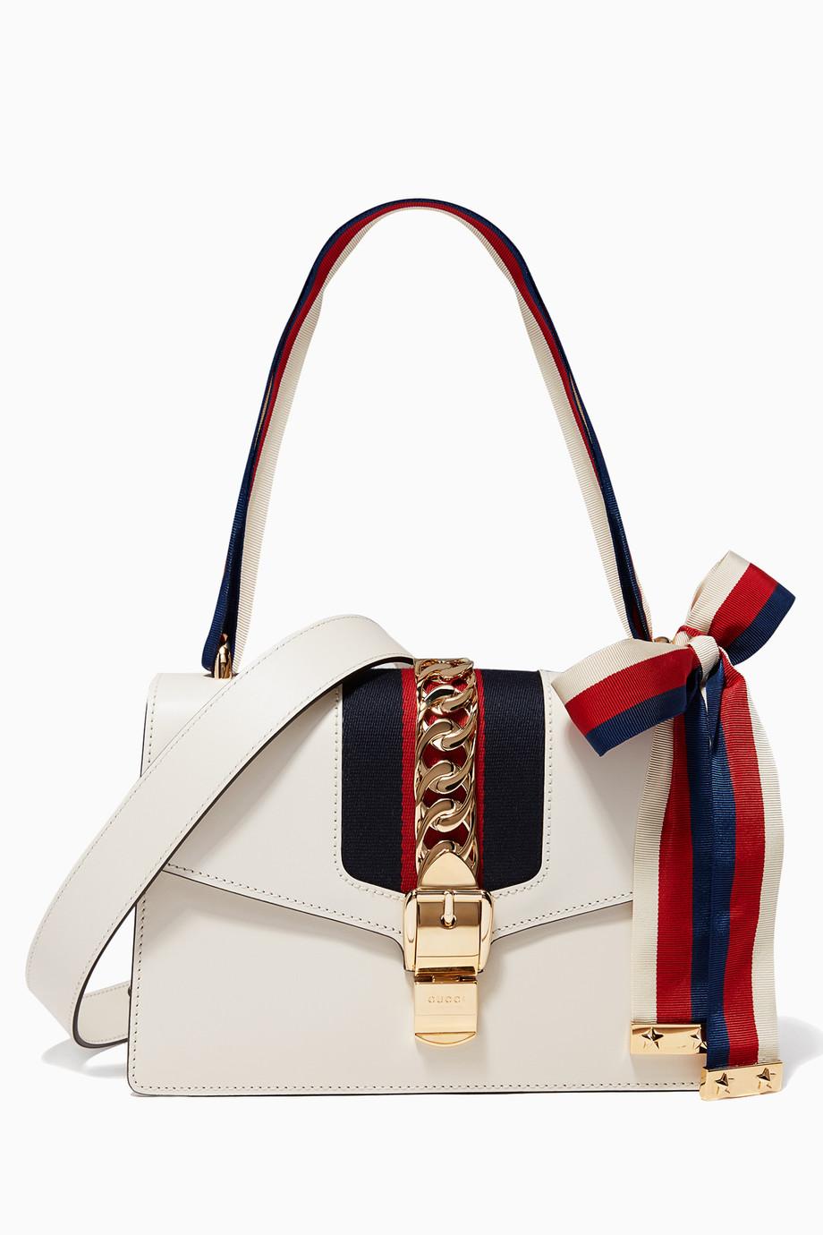 62d3c86b344 Shop Gucci Multicolour Off-White Small Sylvie Shoulder Bag for Women ...