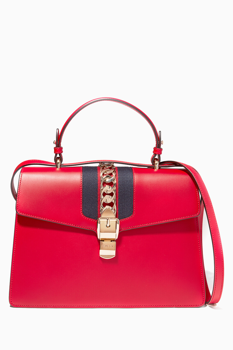 891e9e28a17b Shop Gucci Red Hibiscus Sylvie Medium Leather Tote Bag for Women ...