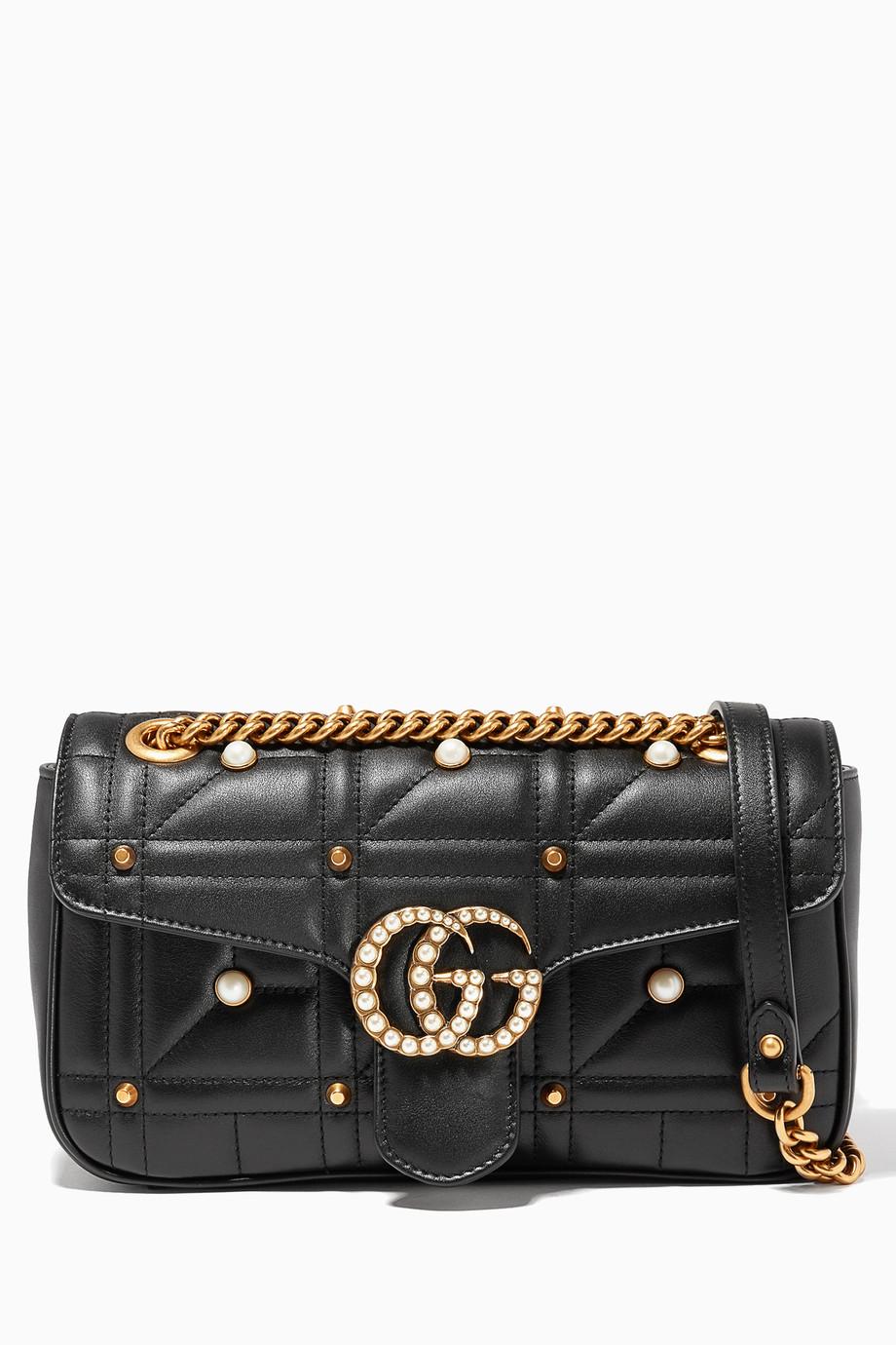 34060856ece Shop Gucci Multicolour Black GG Marmont 2.0 Shoulder Bag for Women ...