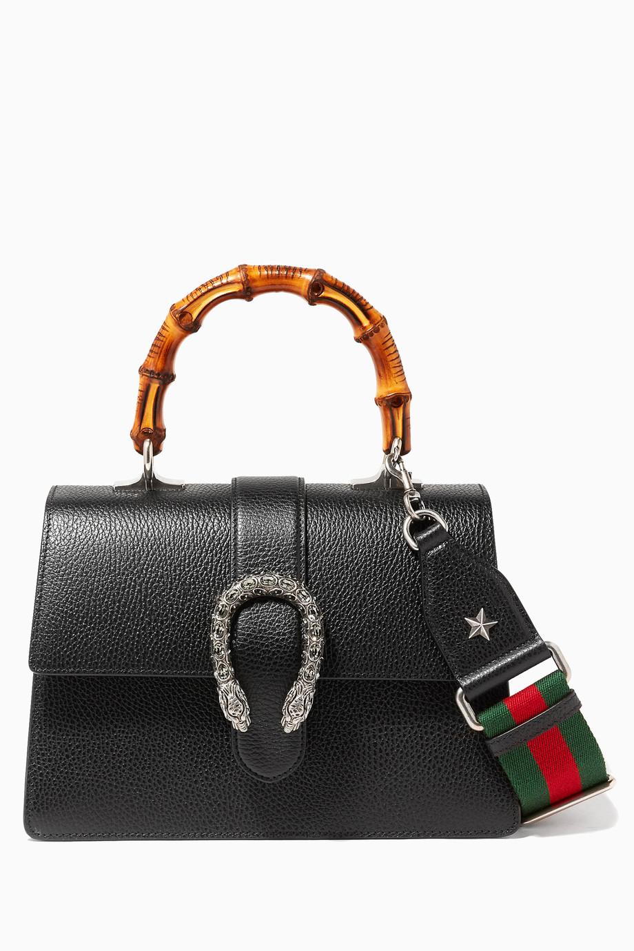 8bd26745f7a Shop Gucci Multicolour Black Dionysus Leather Top Handle Bag for ...