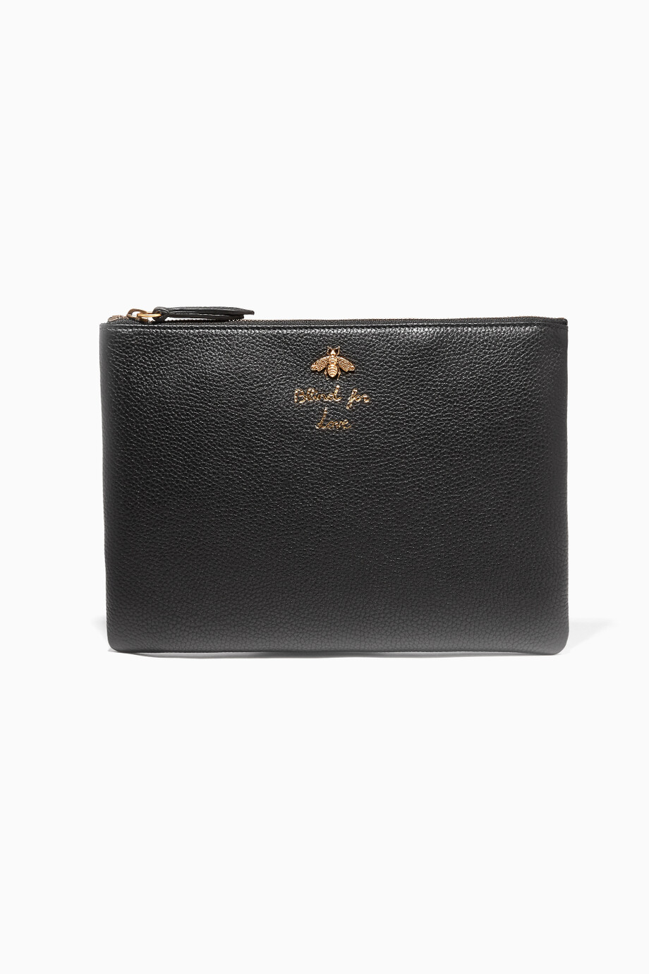 853cfb9e07069 Shop Gucci Black Black Blind for Love Leather Pouch for Women ...