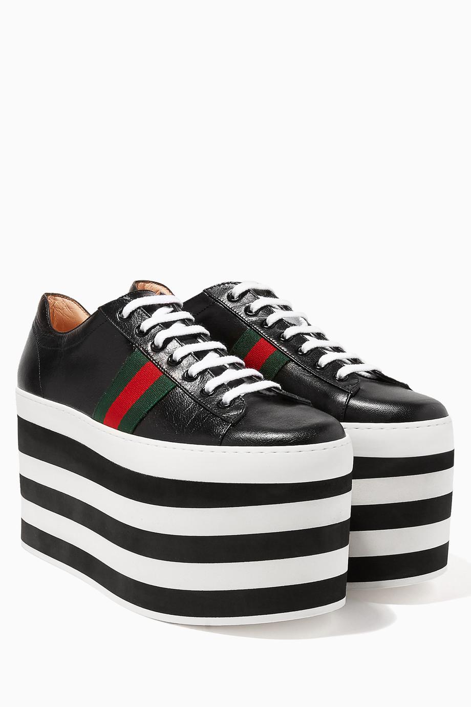 6764b2a6105 Shop Gucci Multicolour Black Leather Low-Top Platform Sneakers for ...