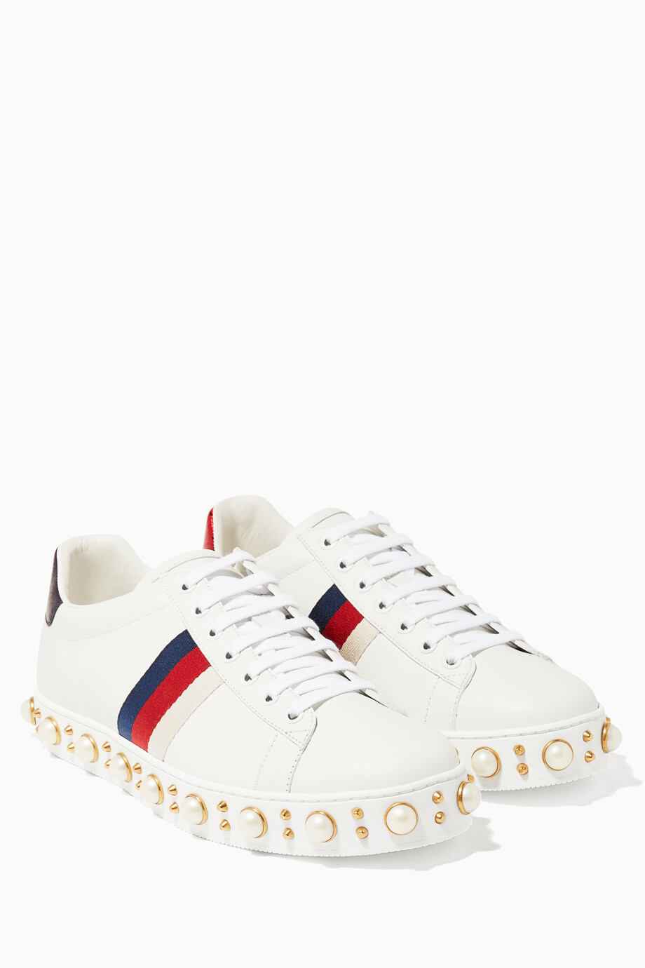 30f57ca345d Shop Gucci Multicolour White Ace Studded Low-top Sneaker for Women ...