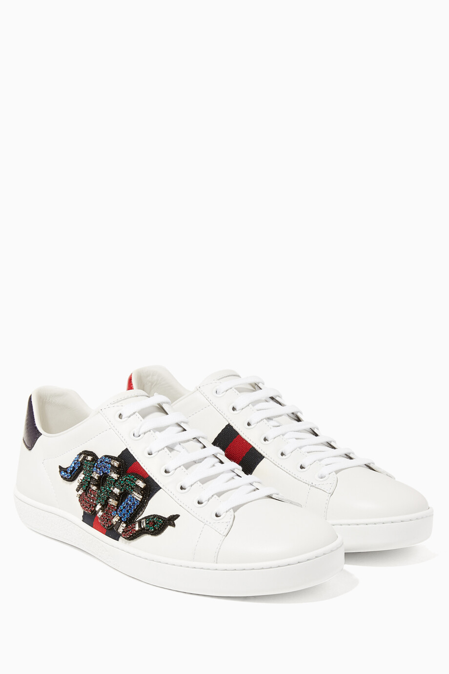 a93be1e192c Shop Gucci Multicolour New Ace Snake-Detail Sneakers for Women ...