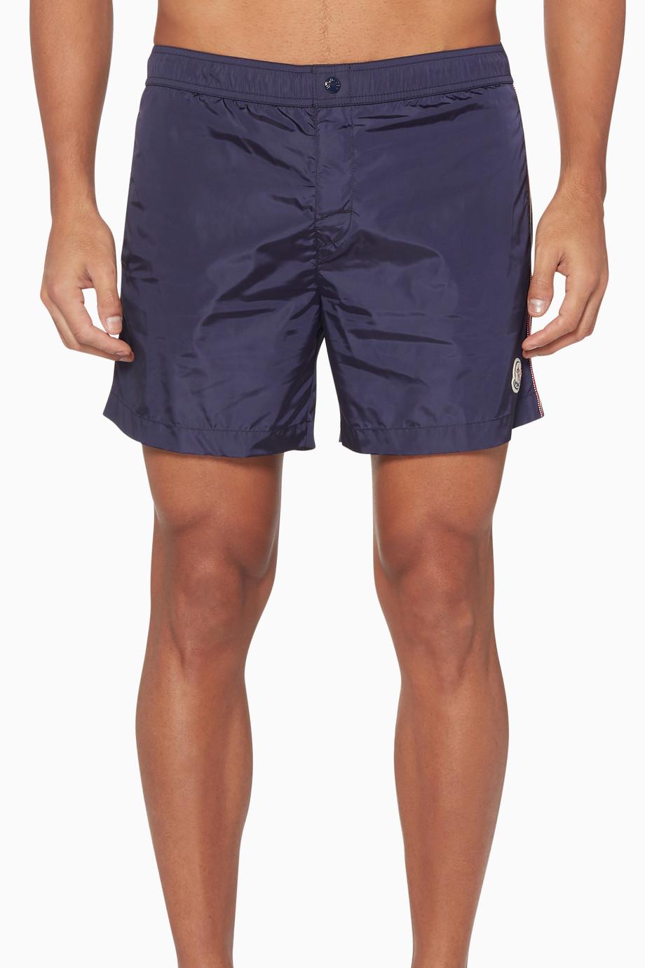 b84941fc6e Shop Moncler Blue College Stripe Swim Shorts for Men   Ounass Saudi