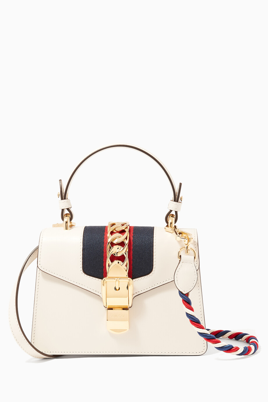 c7eee0f2869 Shop Gucci Neutral Off-white Red Mini Sylvie Top Handle Bag for ...