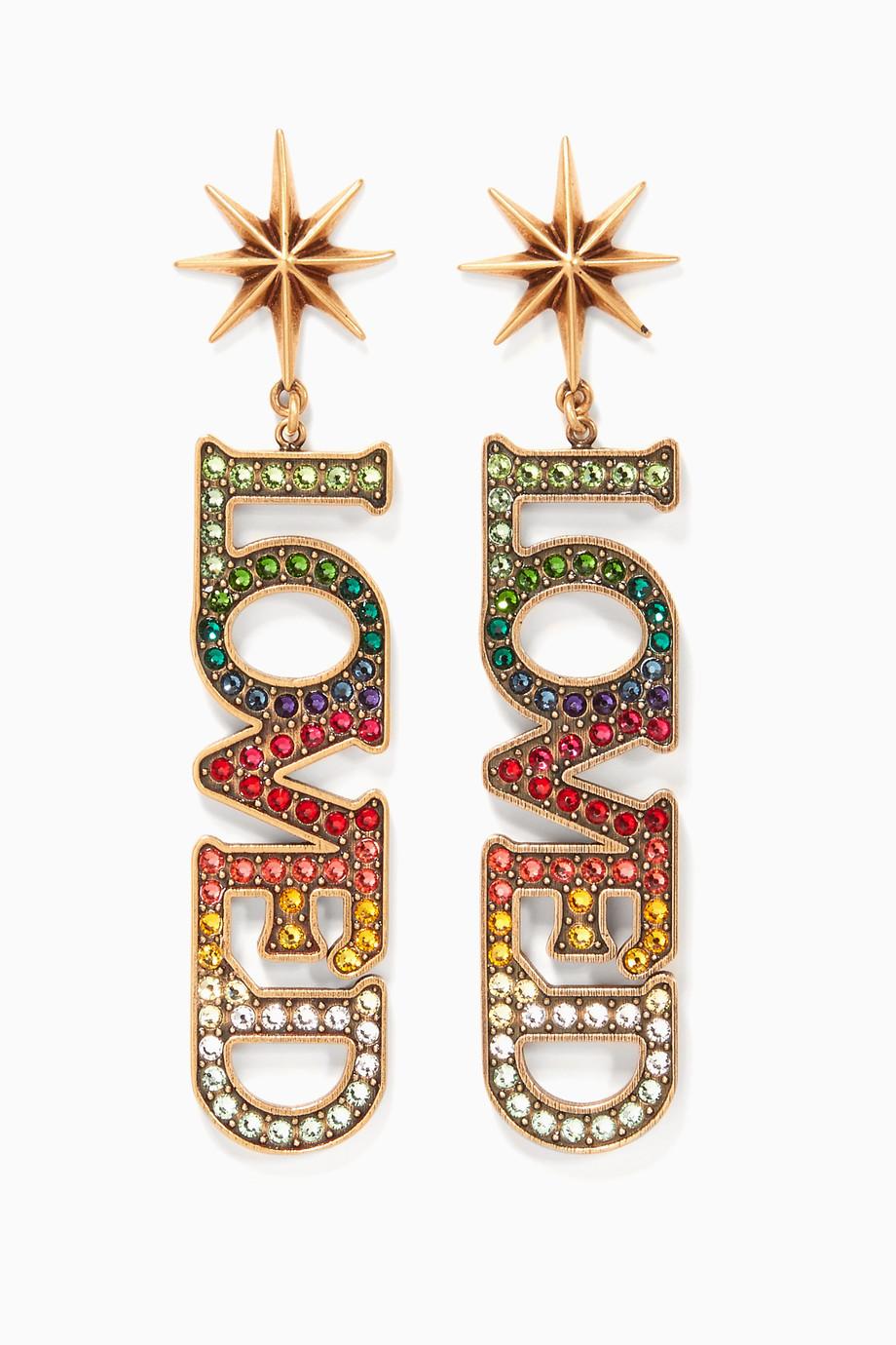 c32d1631d Shop Gucci Gold Multi-Coloured Loved Pendant Earrings for Women ...
