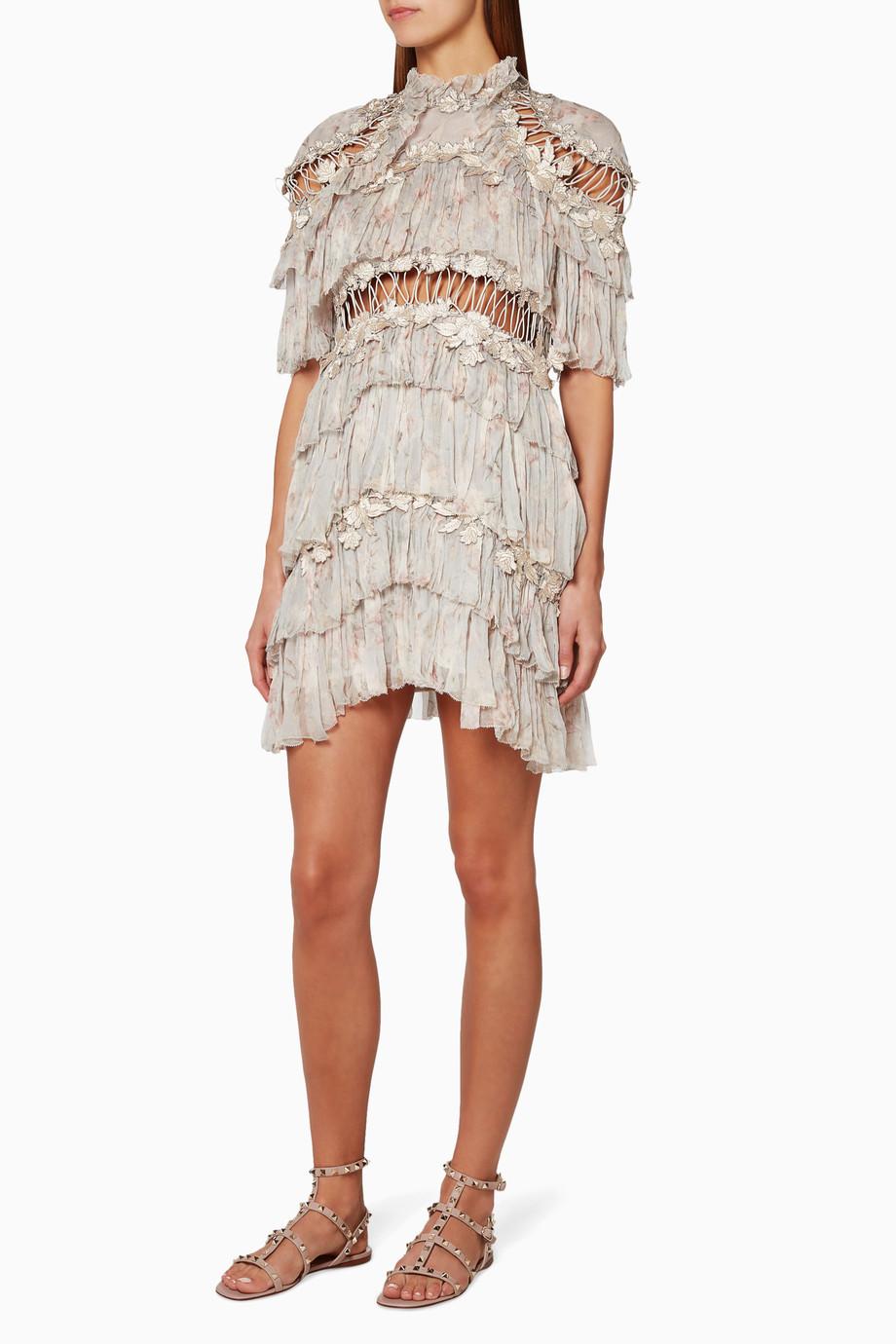 5a03a6da109f Shop Zimmermann Neutral Cream Stranded Tier Mini Dress for Women ...