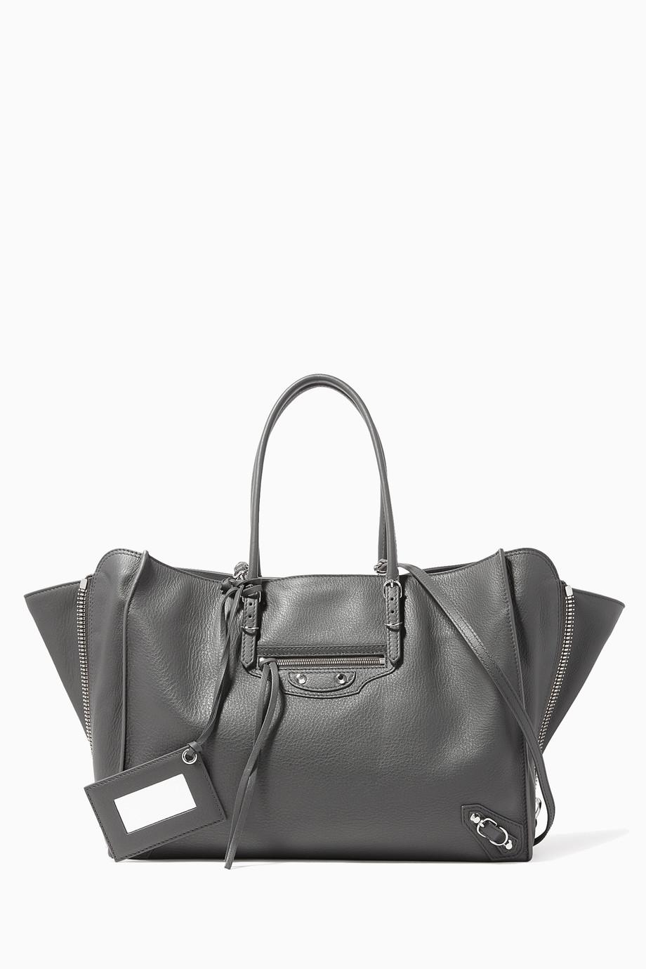 1891028933 Shop Balenciaga Grey Grey Papier B4 Side-Zip Tote Bag for Women ...