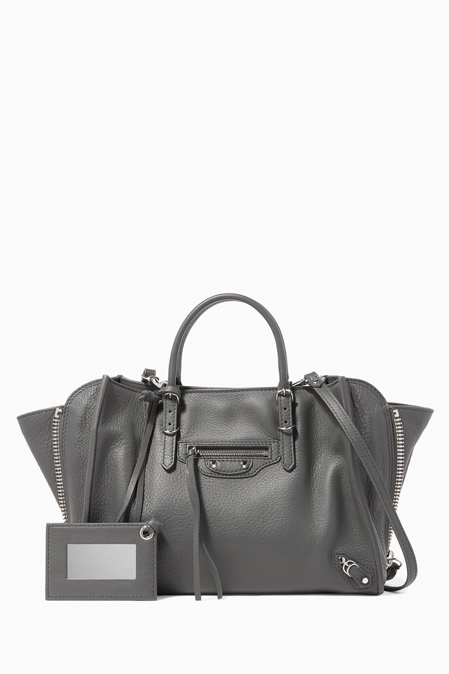 82c1f0a09069 Shop Balenciaga Grey Grey Papier A6 Side-Zip Shoulder Bag for Women ...