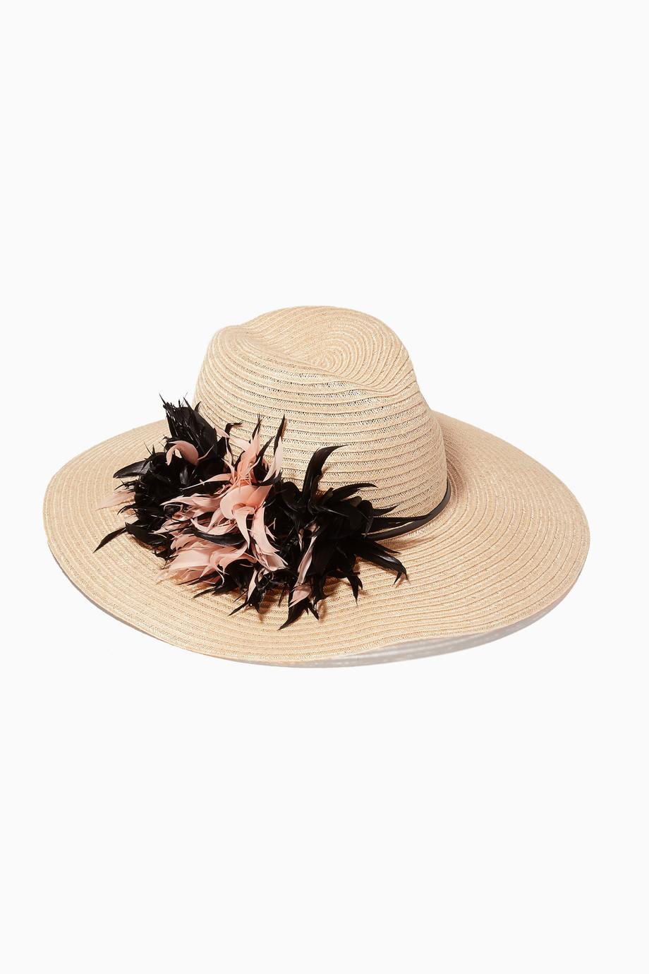 e901458b48683 Shop Eugenia Kim Neutral Beige Floral Emmanuelle Hat for Women ...
