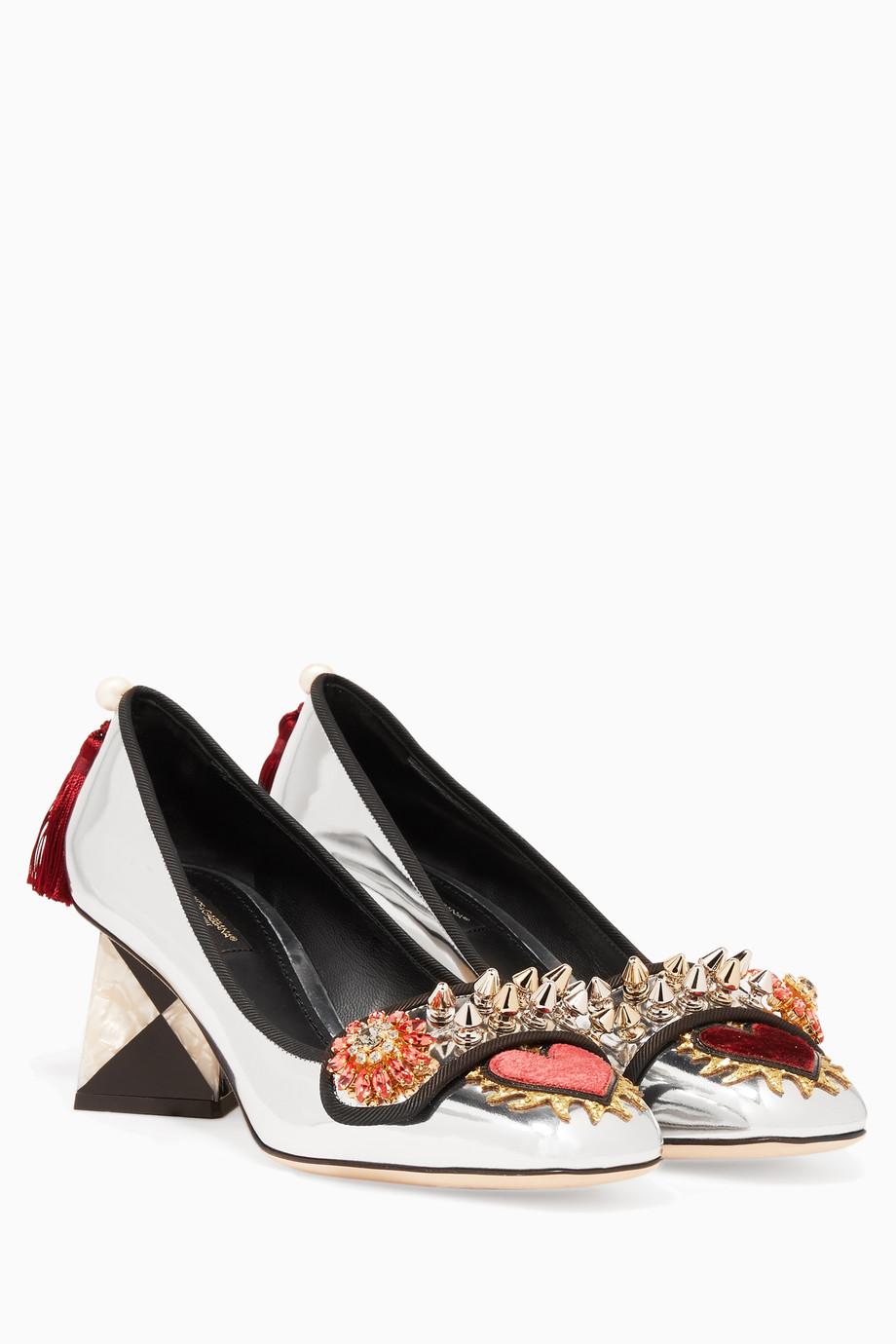 77ccffe293435 تسوق حذاء كعب عالي جاكي مرصع مجوهرات فضي لامع Dolce   Gabbana فضي للنساء