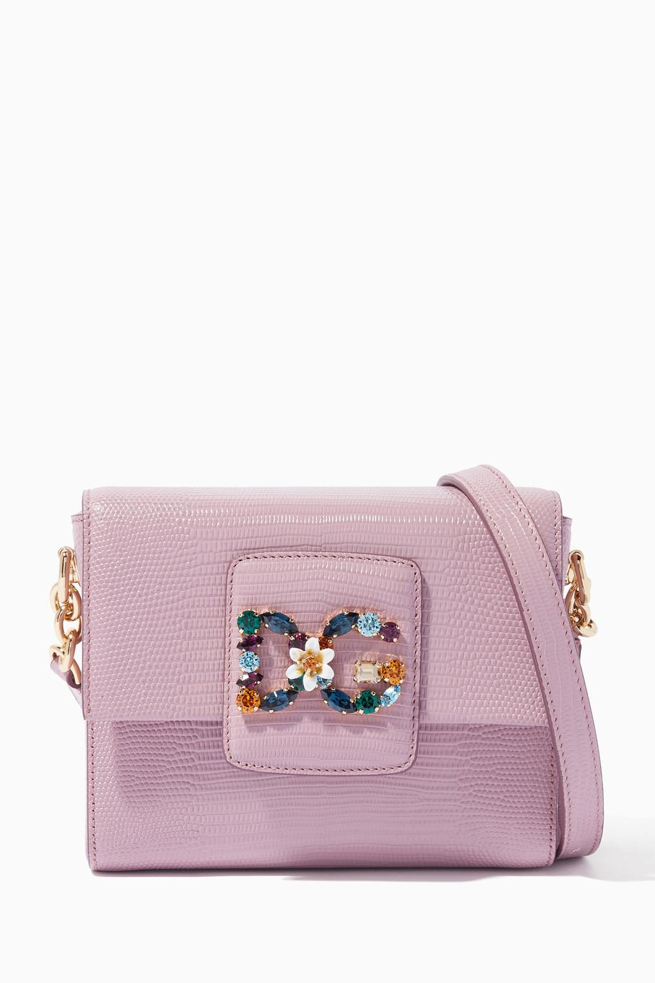 4e09e0c36d9 Shop Dolce & Gabbana Pink Powder-Pink Mini Iguana-Embossed ...