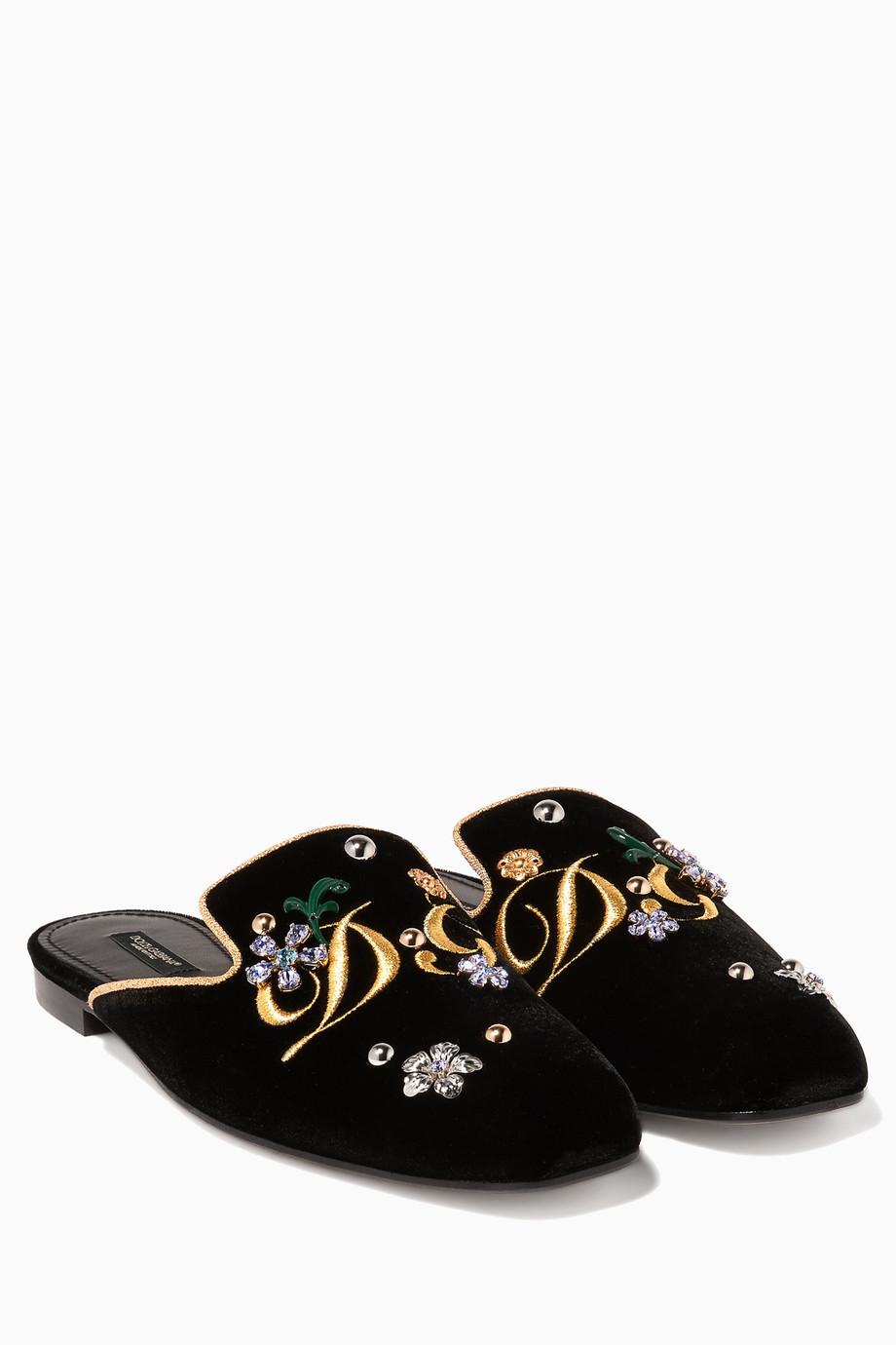 6dcaae30df6c1 تسوق حذاء مفتوح جاكي مخمل مزخرف أسود Dolce   Gabbana أسود للنساء ...