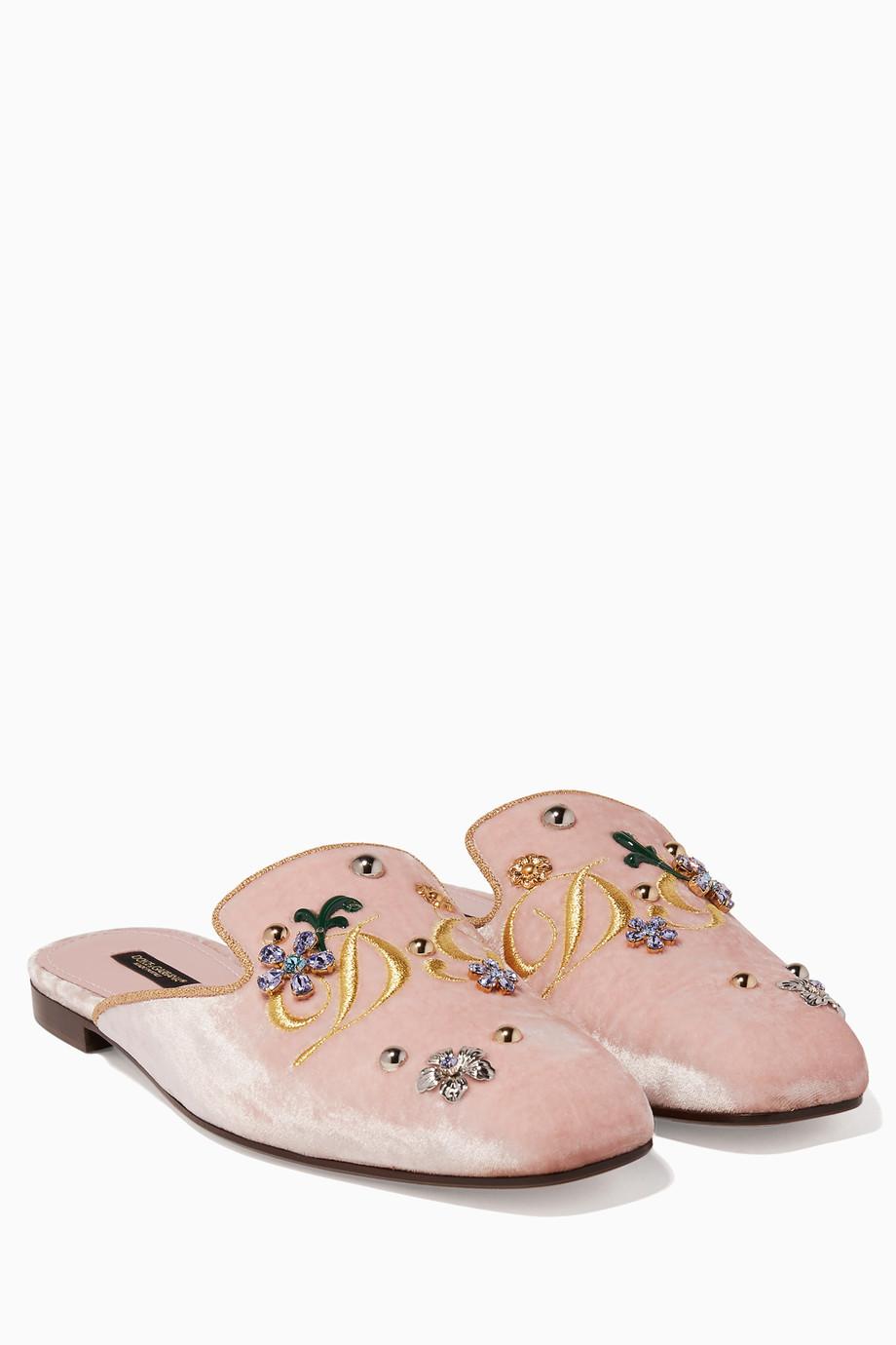 f6d39f7b65 Shop Dolce & Gabbana Pink Light Pink Jackie Velvet Embroidered ...