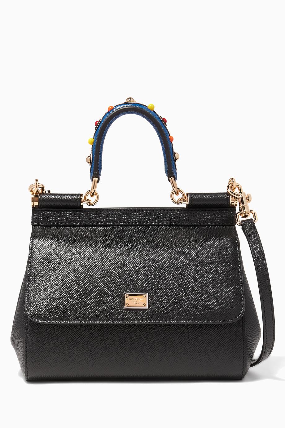 b0c5f7329a Shop Dolce   Gabbana Black Black Small Dauphine Leather Miss Sicily ...