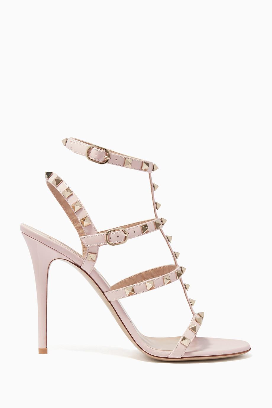 42c5f4ab4888 Shop Valentino Pink Light-Pink Rockstud Ankle Strap Patent Sandals ...