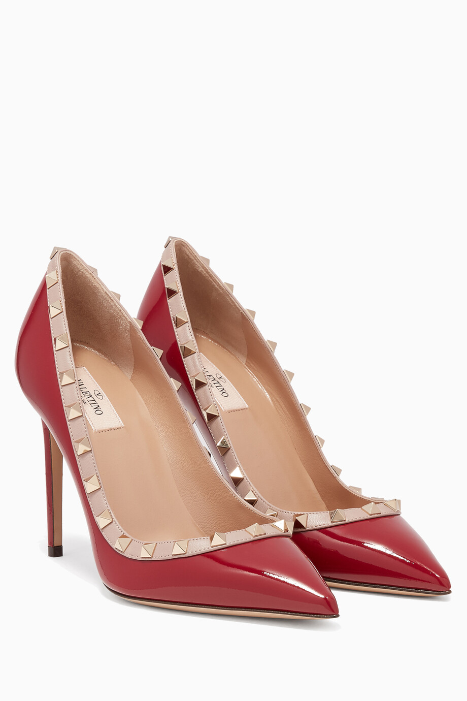 4fa8e0b3e Shop Valentino Red Red Patent Rockstud Pumps for Women | Ounass