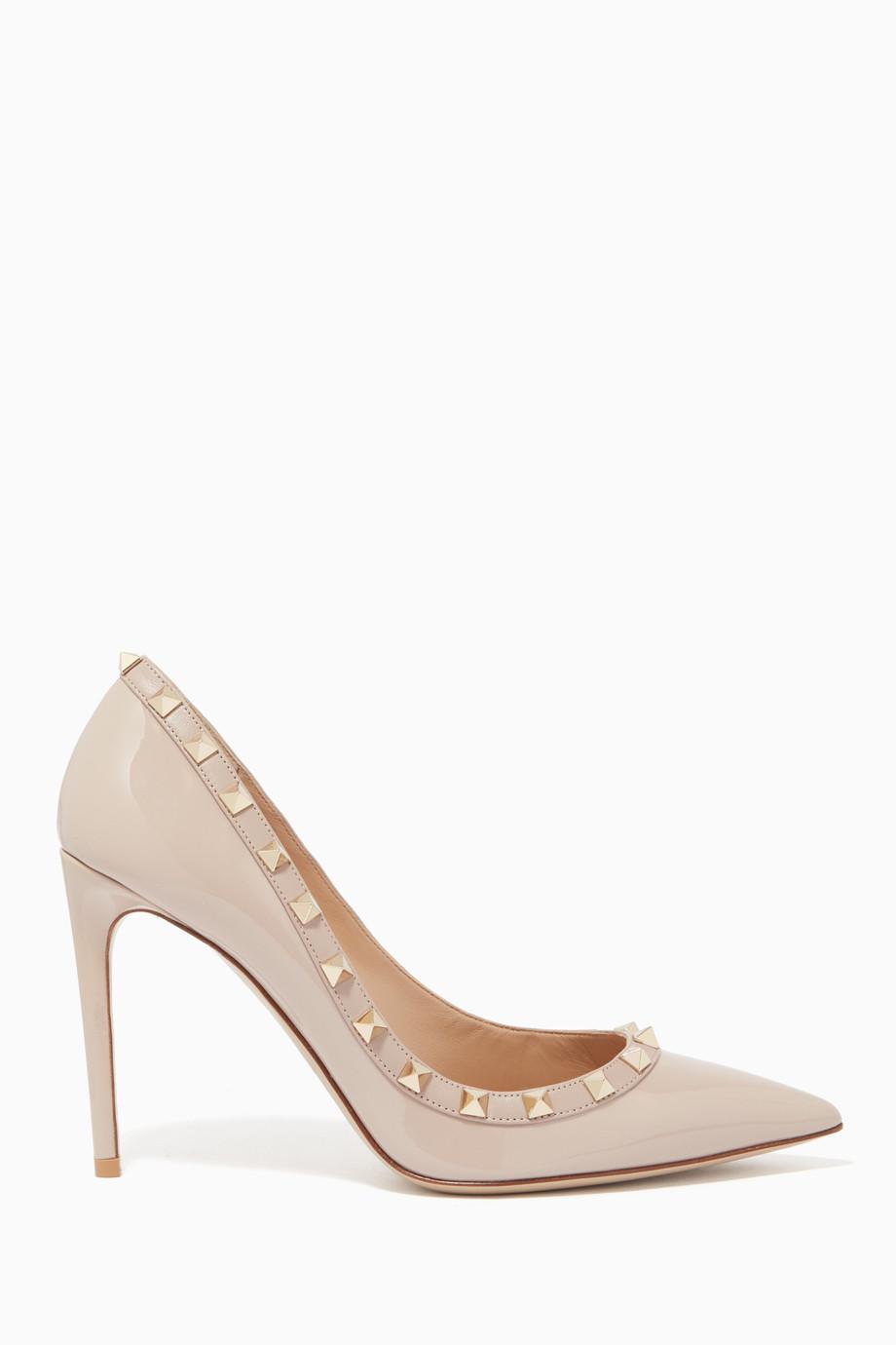 dc712e16a تسوق حذاء كعب عالي روكستد جلد لامع لونين بودر فالنتينو لون طبيعى ...