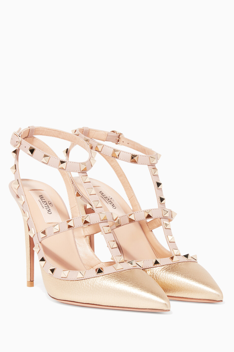 0c0c1fa0cc Shop Valentino Gold Metallic-Gold Single-Strap Rockstud Textured Pumps for  Women | Ounass
