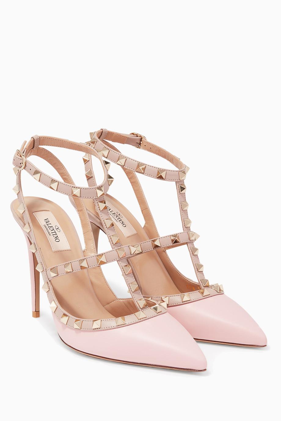ee3dbdb6d3c0 Shop Valentino Pink Light Pink Single-Strap Rockstud Pumps for Women ...