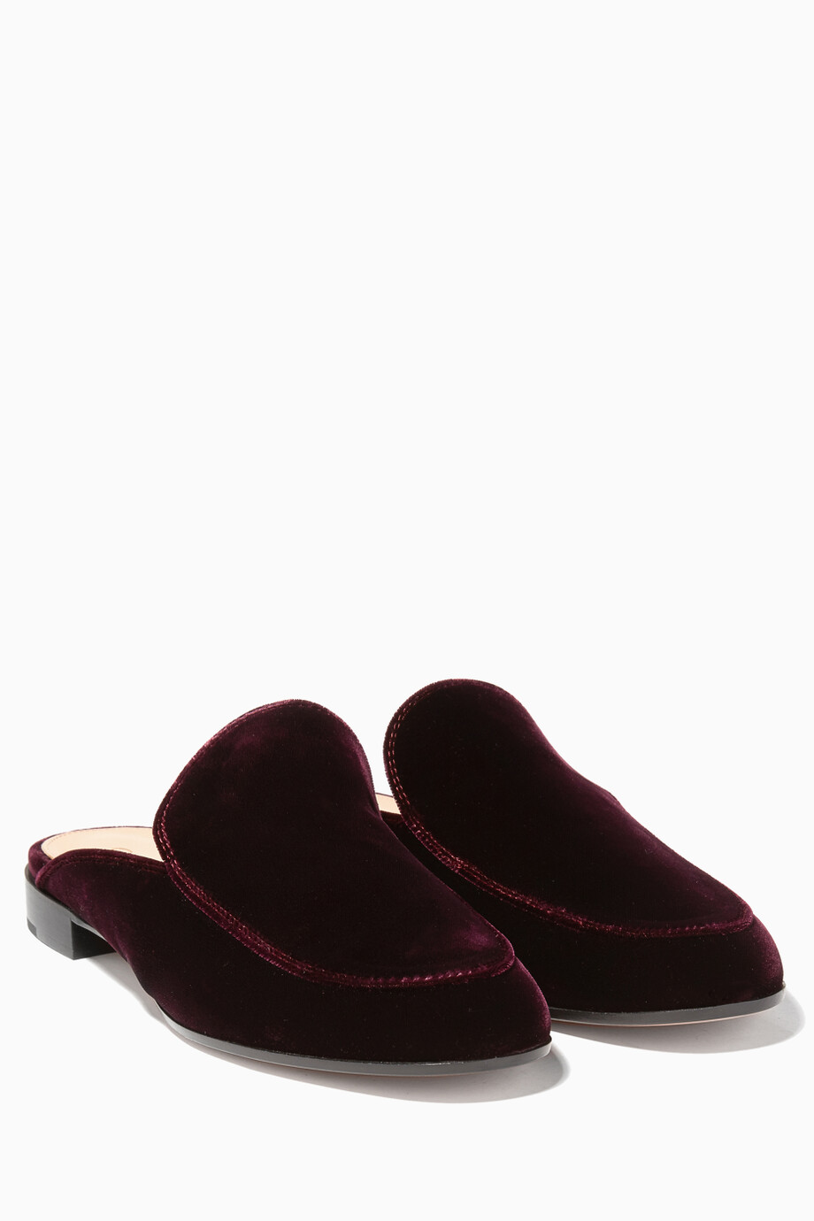 e546ee2f38b WomenDesignersGianvito Rossi. Dark-Red Palau Velvet Backless Loafers ...