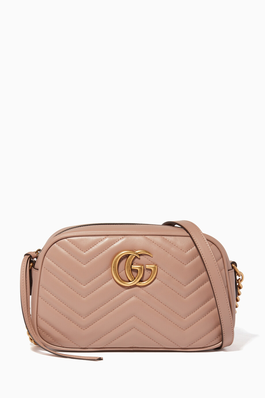 ed0d709ee6a7bf Shop Gucci Neutral Light-Pink GG Marmont 2.0 Camera Bag for Women ...