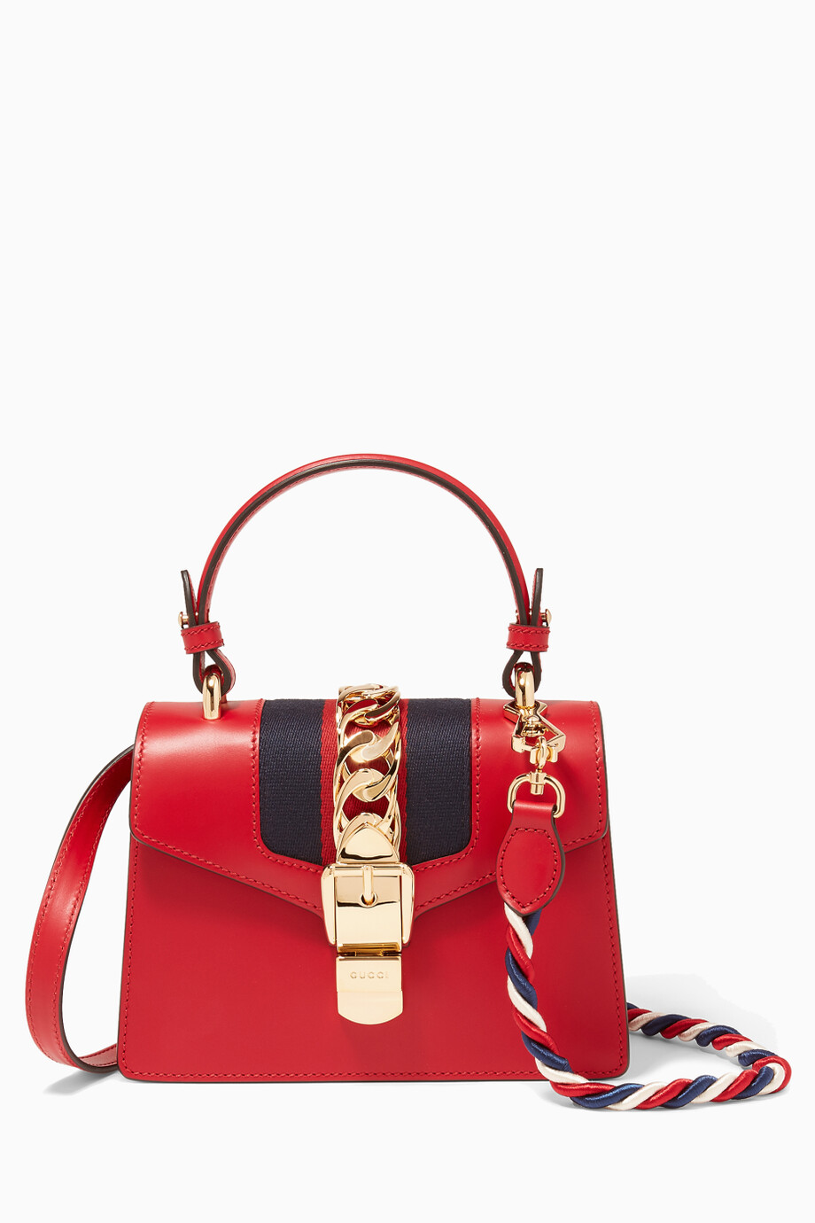 b138e05a0ad41a Shop Gucci Red Red Mini Sylvie Top Handle Bag for Women | Ounass UAE