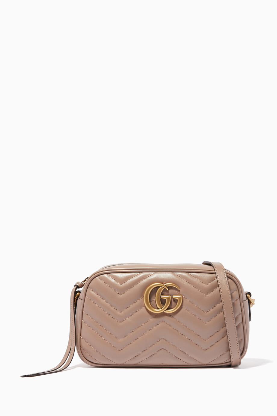 66dd2e3cef Shop Gucci Neutral Beige Leather Small GG Marmont Shoulder Bag ...