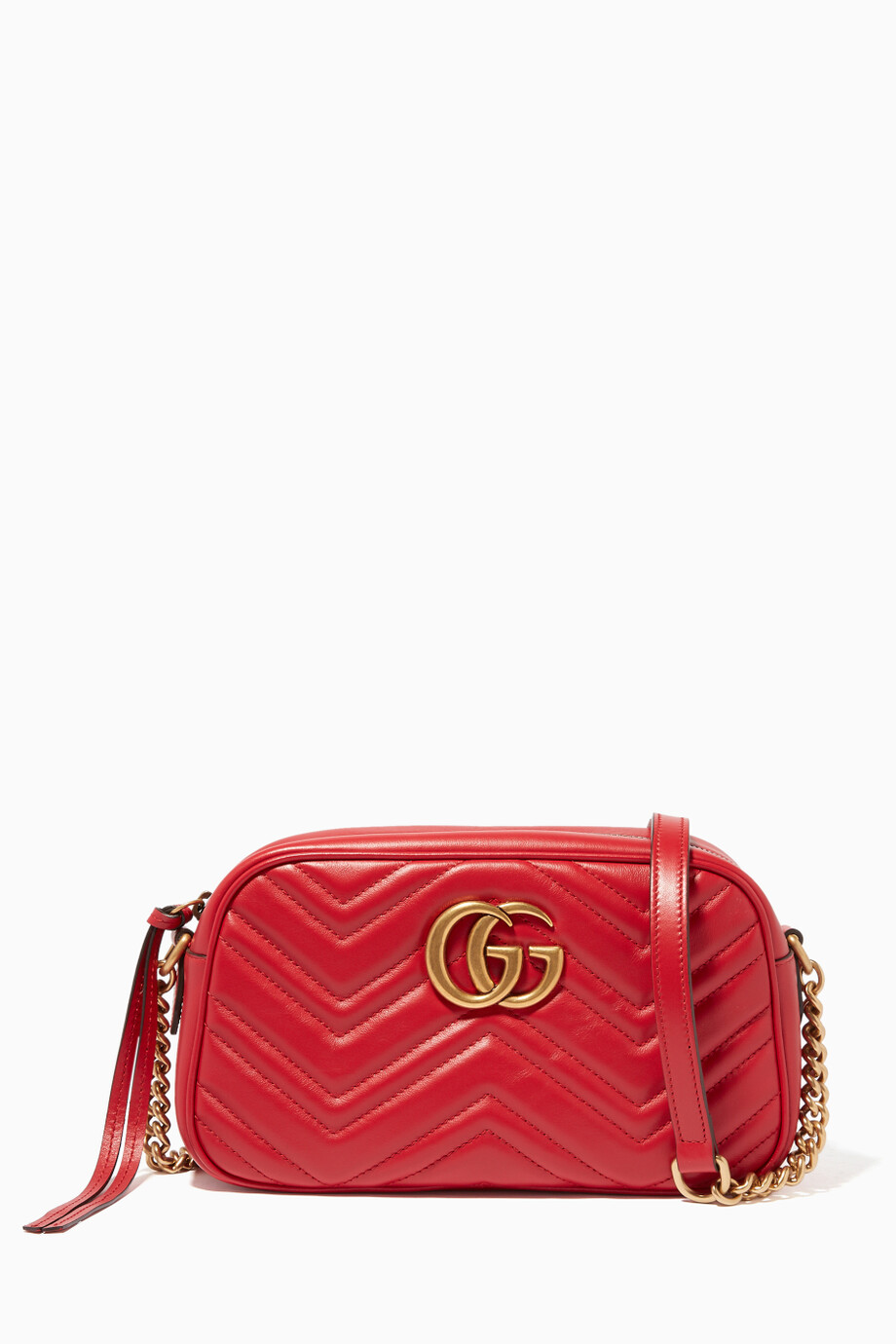 4dd1c6bdc Shop Gucci Red Hibiscus-Red Leather Small GG Marmont Shoulder Bag ...