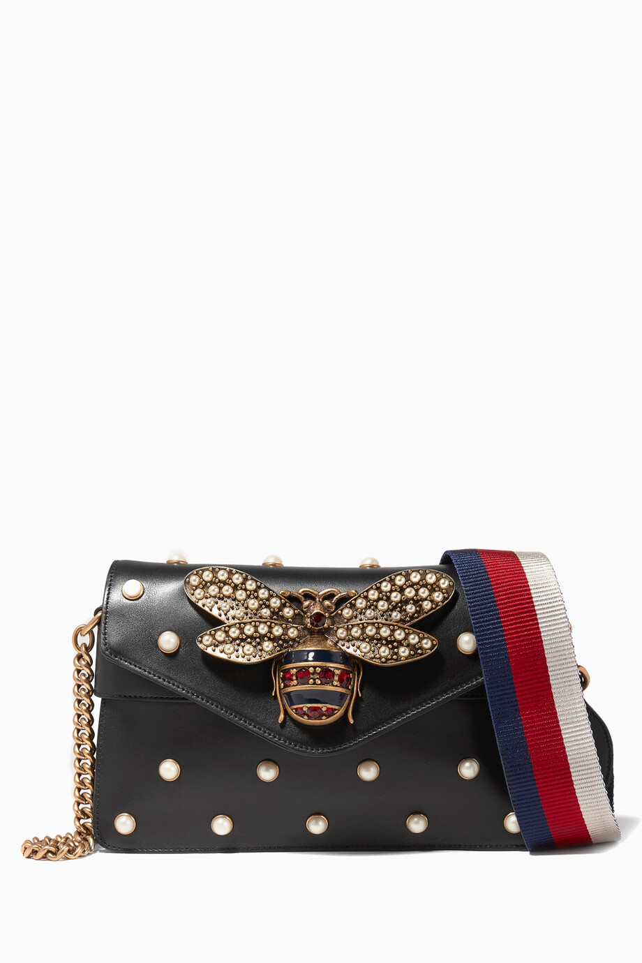60e8e6351b5b Shop Gucci Black Black Broadway Leather Chain Clutch for Women ...