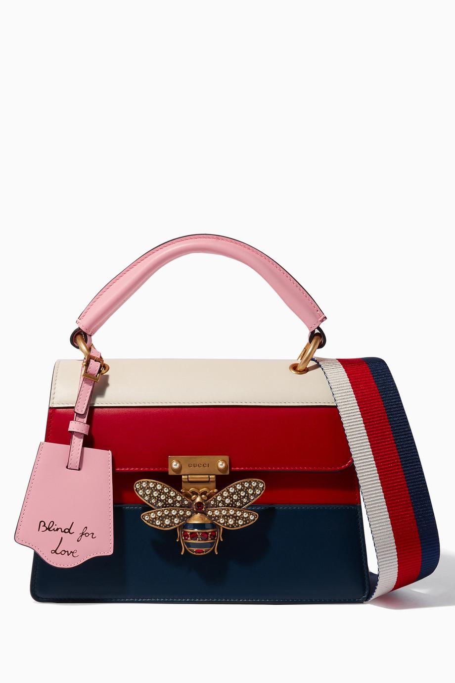 9c2a9beccd68a Shop Gucci Blue Dark-Blue Small Queen Margaret Top Handle Bag for Women |  Ounass UAE